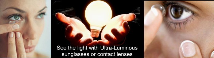 Luminous contact lenses marked cards